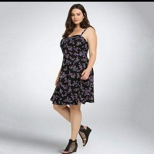 Torrid Black Floral Challis Sundress Size 3X